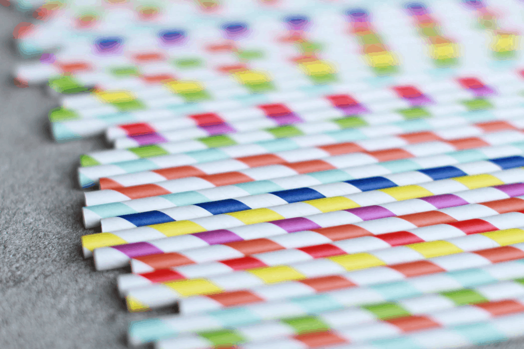 Colorful paper straws lined up