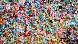Various pieces of plastic pollution